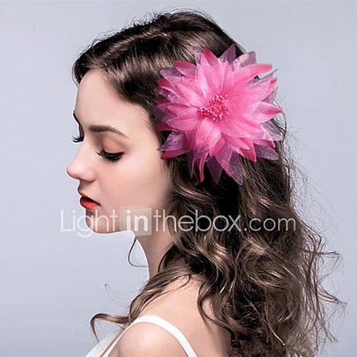 Fabric Flowers Headwear Hair Clip with Floral 1pc Wedding Special Occasion Headpiece
