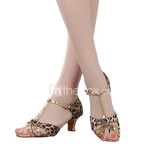 Women's Belly Latin Dance Sneakers Modern Swing Shoes Samba Salsa Patent Leather Satin Synthetic Sneaker Heel Indoor Practice Satin