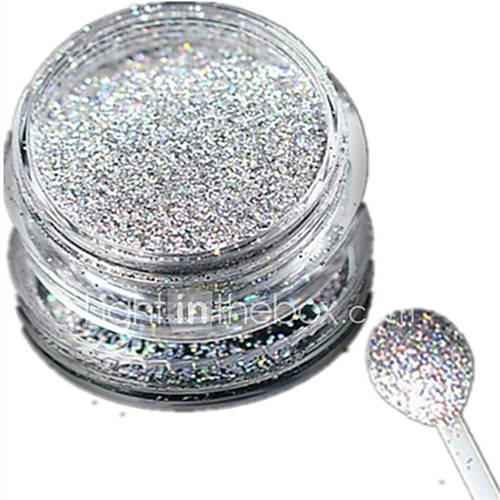 1 bottle nail art laser silver glitter shining powder manicure decoration nail beauty l03