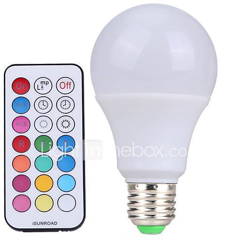YWXLIGHT 1pc 10 W LED Globe Bulbs 500 lm E26 / E27 A60(A19) 12 LED Beads SMD Dimmable Remote-Controlled Decorative Cold White RGB 220-240 V 110-130 V 85-265 V / 1 pc / RoHS