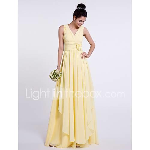 Sheath / Column V Neck Floor Length Chiffon Bridesmaid Dress with Side Draping / Criss Cross / Flower by LAN TING BRIDE