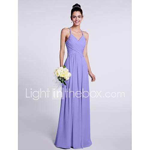 Morilee Style Sheath / Column Spaghetti Strap Floor Length Chiffon Bridesmaid Dress with Criss Cross by LAN TING BRIDE / Open Back