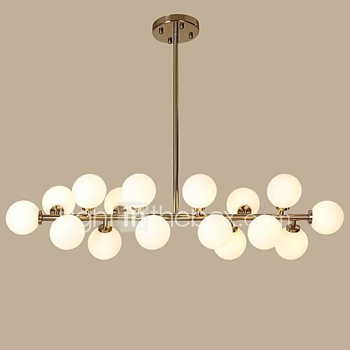 Chandelier Ambient Light Gold Metal Glass Designers 110-120V / 220-240V / G4