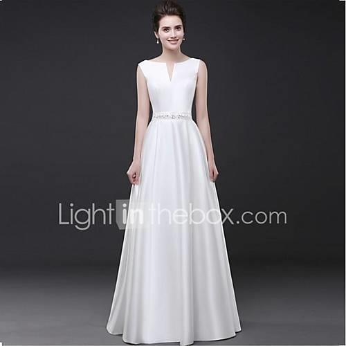 Sheath / Column Notched Floor Length Satin Formal Evening Dress with Beading / Sash / Ribbon by LAN TING Express