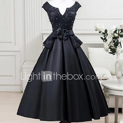 Ball Gown Notched Tea Length Satin / Beaded Lace Little Black Dress Cocktail Party / Formal Evening Dress with Sash / Ribbon / Flower by LAN TING Express