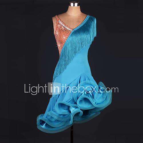 Latin Dance Dresses Women's Performance Modal Tassel Sleeveless High Dress