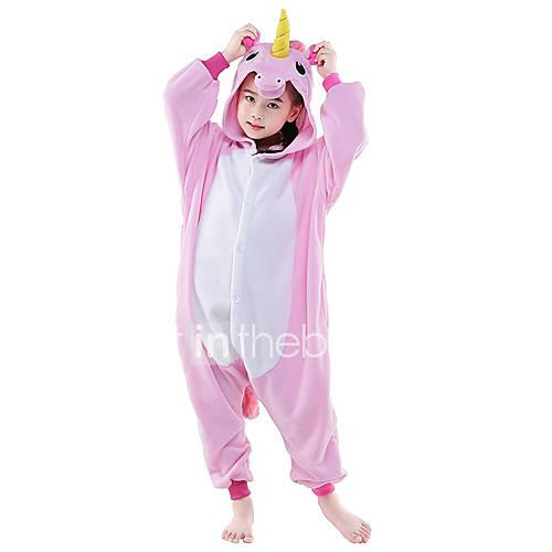 Kid's Kigurumi Pajamas Unicorn Flying Horse Animal Onesie Pajamas Polar Fleece Pink / WhiteBlue / WhitePink Cosplay For Boys and Girls Animal Sleepwear Cartoon Festival / Holiday Costumes