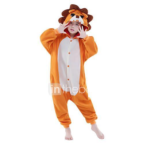 Kid's Kigurumi Pajamas Lion Animal Onesie Pajamas Polar Fleece Orange Cosplay For Boys and Girls Animal Sleepwear Cartoon Festival / Holiday Costumes