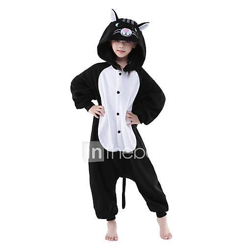 Kid's Kigurumi Pajamas Cat Animal Onesie Pajamas Polar Fleece Black / White Cosplay For Boys and Girls Animal Sleepwear Cartoon Festival / Holiday Costumes