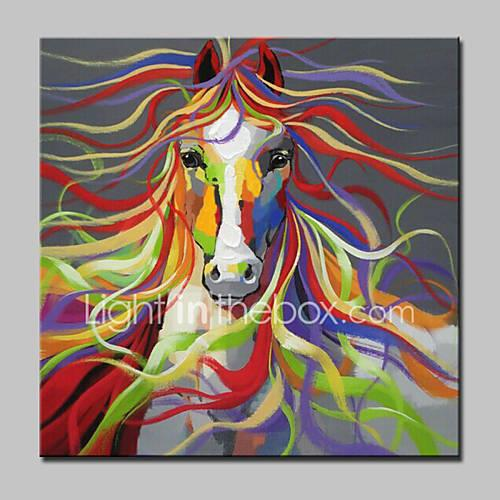 Oil Painting Hand Painted - Animals Modern With Stretched Frame / Stretched Canvas
