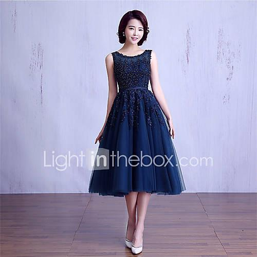 Ball Gown Jewel Neck Tea Length Lace Over Tulle Bridesmaid Dress with Beading / Lace / Sash / Ribbon by LAN TING Express