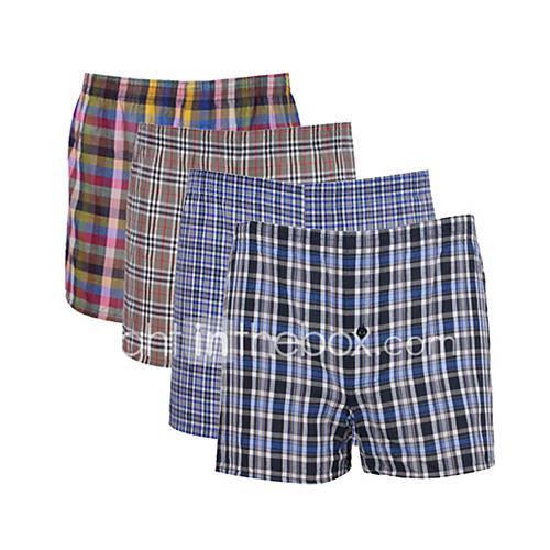 Men's Super Sexy Boxers Underwear Plaid Mid Rise
