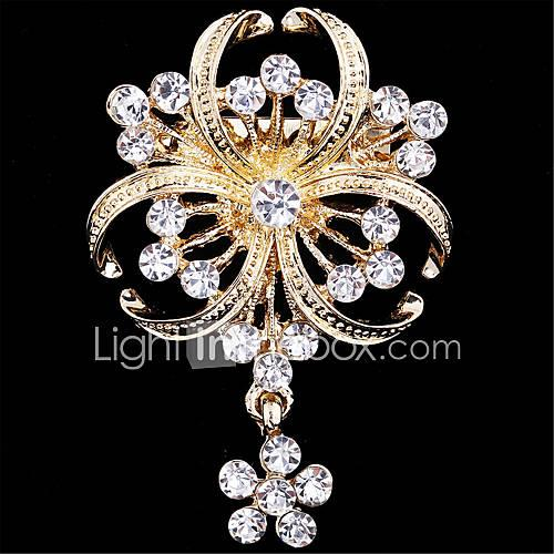 Women's Brooches Imitation Diamond Flower Ladies Luxury Fashion Brooch Jewelry Golden For Wedding Party Special Occasion Birthday Gift Daily