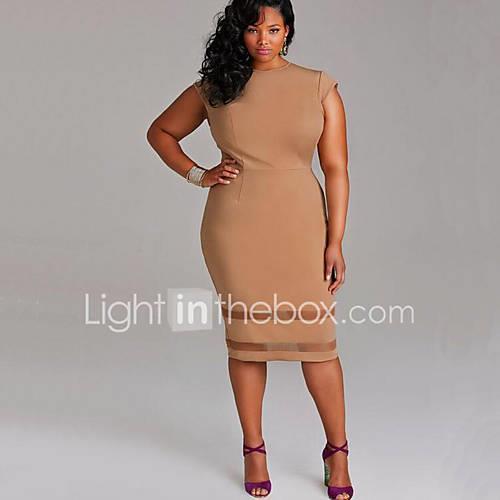 Women's Plus Size Going out Sheath Dress - Solid Colored White Summer White Black Khaki XXXL XXXXL XXXXXL / Slim