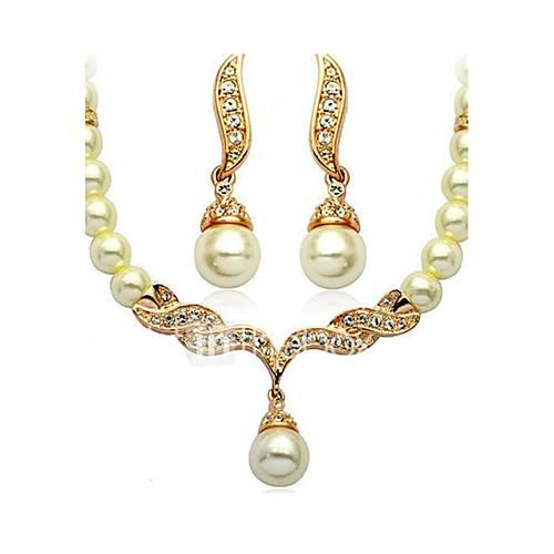 Women's Jewelry Set Imitation Pearl Ladies, Basic, Imitation Pearl, Bridal Include Golden For Wedding Party Daily Casual / Earrings / Necklace