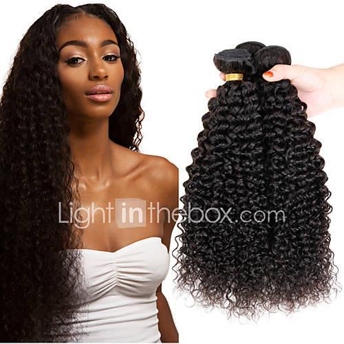 3 Bundles Indian Hair Afro / Kinky Curly Virgin Human Hair Natural Color Hair Weaves / Hair Bulk 8-26 inch Human Hair Weaves Shedding Free / Tangle Free / Thick Hair End Human Hair Extensions