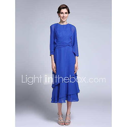 Sheath / Column Jewel Neck Tea Length Chiffon Mother of the Bride Dress with Side Draping by LAN TING BRIDE