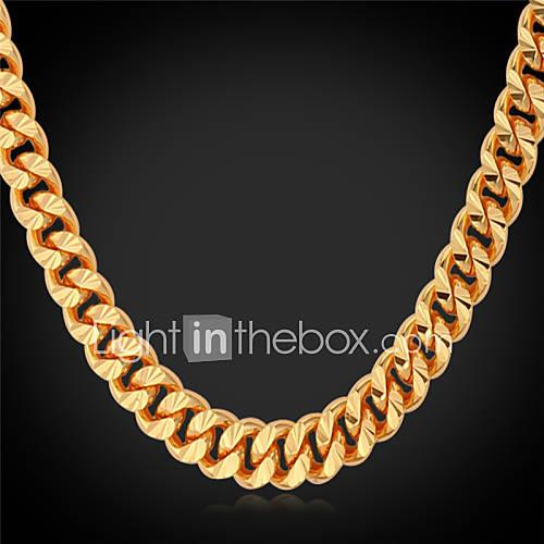 Men's Choker Necklace / Chain Necklace / Collar Necklace - Gold Plated Fashion Gold Necklace For Wedding, Party, Daily