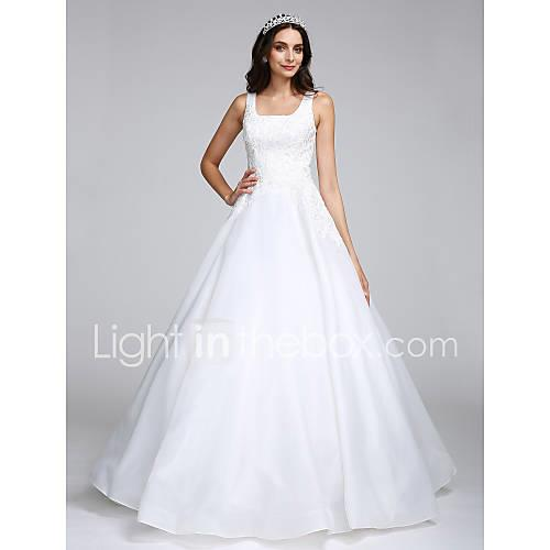Ball Gown / Princess Square Neck Floor Length Organza Made-To-Measure Wedding Dresses with Appliques by LAN TING BRIDE