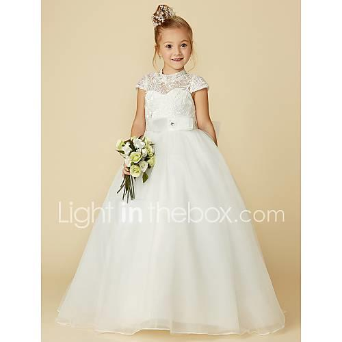 Ball Gown Floor Length Flower Girl Dress - Lace / Tulle Short Sleeve High Neck with Bow(s) / Lace / Sash / Ribbon by LAN TING Express