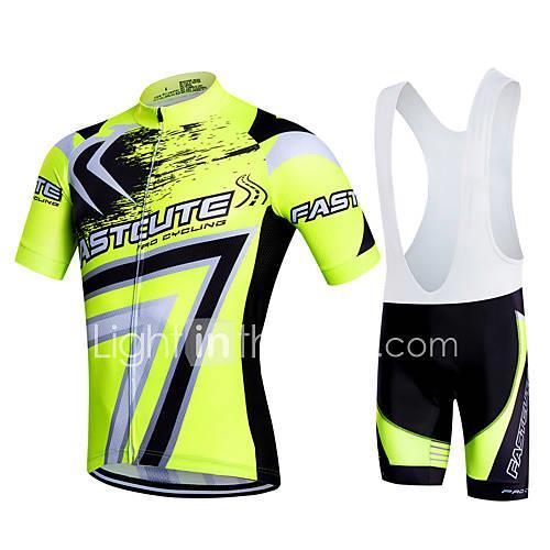 Fastcute Mens Short Sleeve Cycling Jersey with Bib Shorts Black Plus Size  Bike Bib Shorts Jersey Bib Tights Breathable 3D Pad Quick Dry Sweatwicking  Sports ... 5a17bbb60