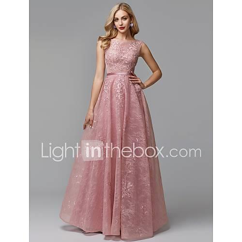 A-Line Scoop Neck Floor Length Lace Over Tulle Prom / Formal Evening Dress with Beading / Sequin / Ruffles by TS Couture / See Through