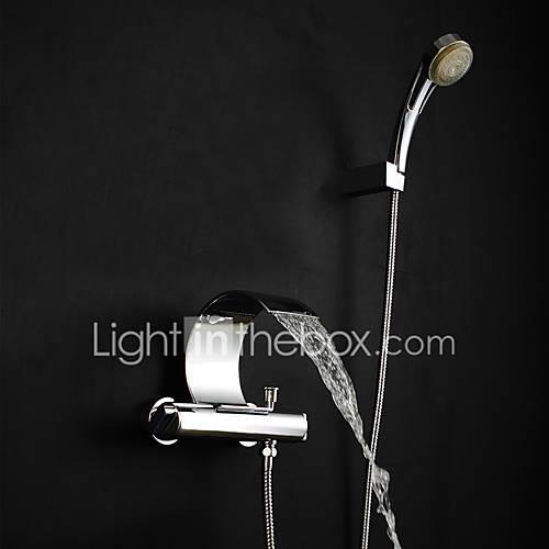 Shower Faucet Bathtub Faucet Bathroom Sink Faucet - Contemporary Art Deco / Retro Modern Chrome Tub And Shower Brass Valve