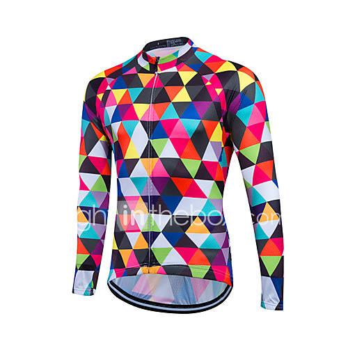 Fastcute Men's Long Sleeve Cycling Jersey Bike Jersey, Thermal / Warm, Quick Dry, Breathable Polyester, Coolmax, Fleece