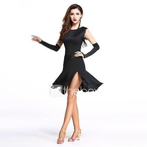 Latin Dance Dresses Women's Performance Spandex / Milk Fiber Split Front / Tassel Sleeveless Natural Dress