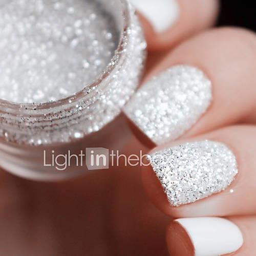 10ml box nail art glitter tips white silver 1mm 2mm 3mm mixed accessories