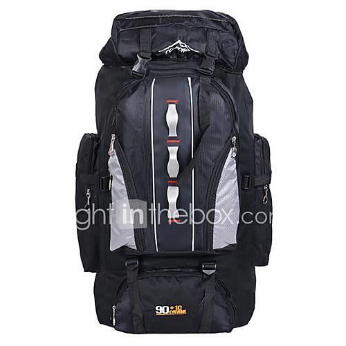 Image of 100 L Hiking Backpack Rucksack - Waterproof Wearable Skidproof Outdoor Camping / Hiking Hunting Traveling Terylene Nylon Orange Red Navy Blue