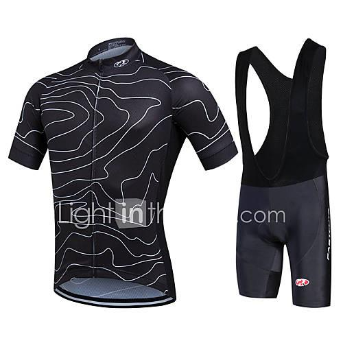 Fastcute Men's Short Sleeves Cycling Jersey with Bib Shorts - Black Green Bike Shorts Bib Shorts Bib Tights Jersey Jacket Clothing Suits,