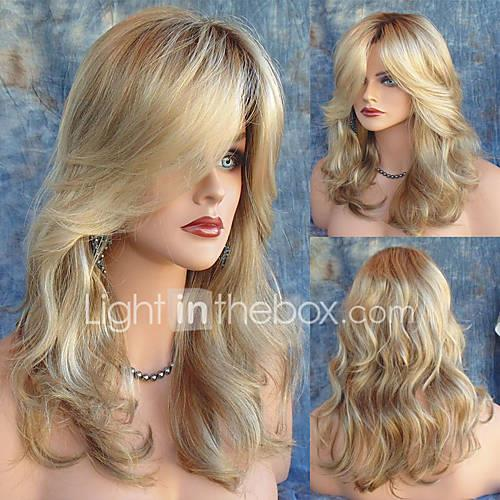 Women's Natural Wave Synthetic Hair Long Side Part Dark Roots Heat Resistant Natural Wigs With Bangs Light Blonde