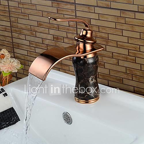 Bathroom Sink Faucet - Waterfall Rose Gold Centerset Single Handle One Hole