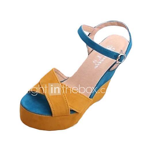 Women's Wedge Sandals PU(Polyurethane) Spring / Summer Sandals Wedge Heel Round Toe Yellow / Wedge Heels
