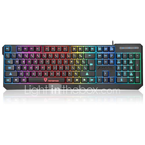 motospeed Wired Multicolor Backlit 104 Gaming Keyboard Waterproof Backlit