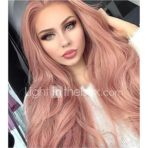 Women's Natural Wave Synthetic Hair Middle Part Natural Hairline Heat Resistant Natural Wigs Pink