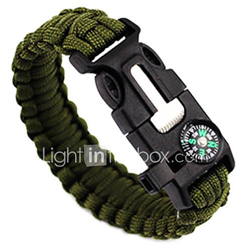 Whistle / Fire Starter / Paracord Bracelet - Compass, Fire Starter, Whistle Adjustable, Tactical, Emergency for Camping / Hiking / Hunting / Fishing - Nylon