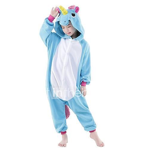 Kid's / Adults' / Baby Kigurumi Pajamas Unicorn Onesie Pajamas Costume Flannel Toison Purple / Blue / Pink Cosplay For Animal Sleepwear Cartoon Halloween Festival / Holiday / Christmas