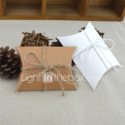 Round Square Pillow Card Paper Favor Holder with Ribbons Printing Favor Boxes - 50