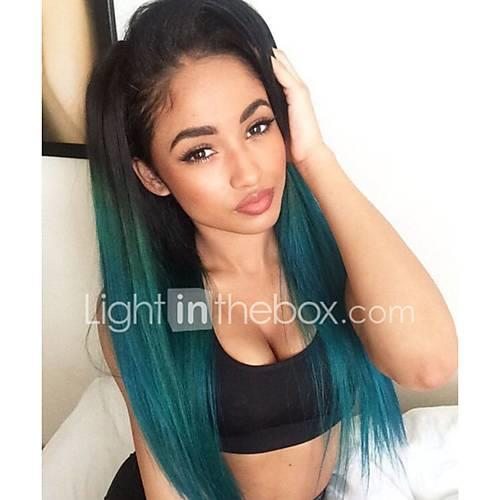 Synthetic Lace Front Wig Straight Synthetic Hair Ombre Hair / Dark Roots / Natural Hairline Green Wig Women's Lace Front