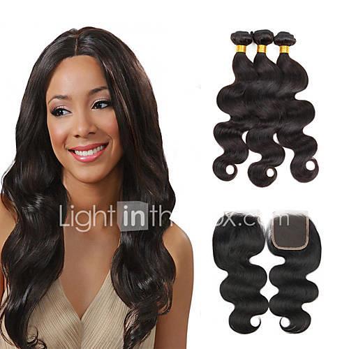 3 Bundles with Closure Brazilian Hair Body Wave Virgin Human Hair Natural Color Hair Weaves / Hair Bulk / Hair Weft with Closure 8-28 inch Natural Black Human Hair Weaves 4x4 Closure 7a / Shedding