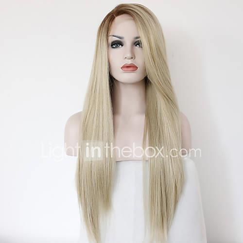Straight Synthetic Hair Medium Long Heat Resistant Natural Wigs Strawberry Blonde
