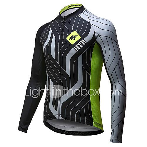 Mysenlan Men's Long Sleeve Cycling Jersey - Green / Black Bike Jersey, Quick Dry, Breathable Polyester