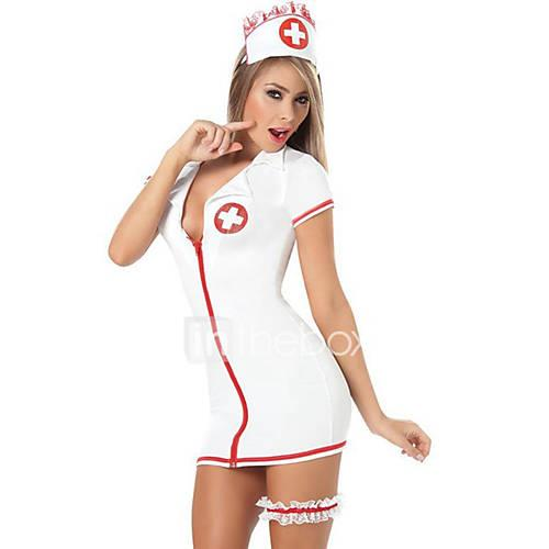Nurse Cosplay Costume Women's Halloween Carnival New Year Festival / Holiday Halloween Costumes Red and White Solid Colored
