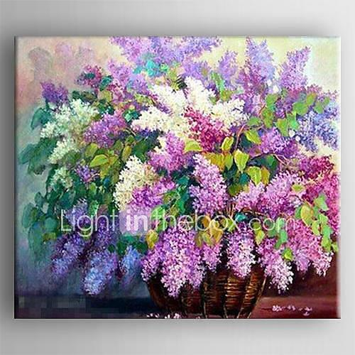 Oil Painting Hand Painted - Floral / Botanical Comtemporary Canvas