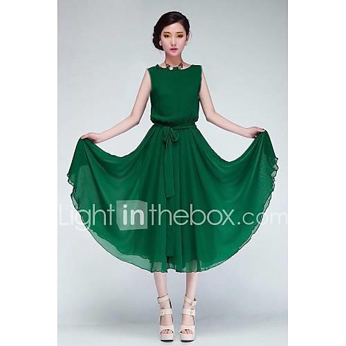 Women's Green/Black Chiffon Dress, Short Sleeve With Belt