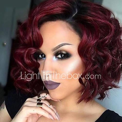hot sale 1b red color wave hair synthetic cosplay women wigs