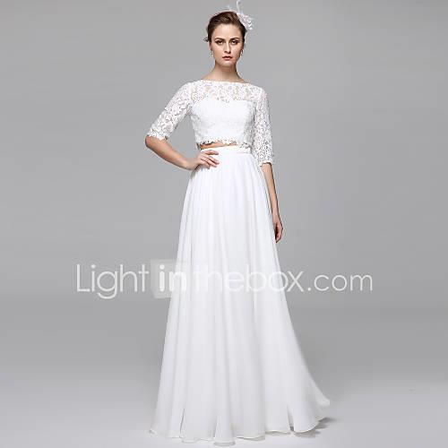 A-Line / Two Piece Illusion Neck Floor Length Chiffon / Corded Lace Made-To-Measure Wedding Dresses with Appliques / Draping by LAN TING