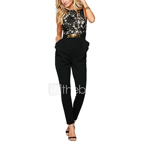 Women's Work Cotton Slim Jumpsuit Lace High Rise / Summer / Ruffle / Backless